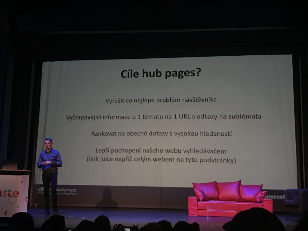 Obsahové UX a hub pages na SEO Restart 2019