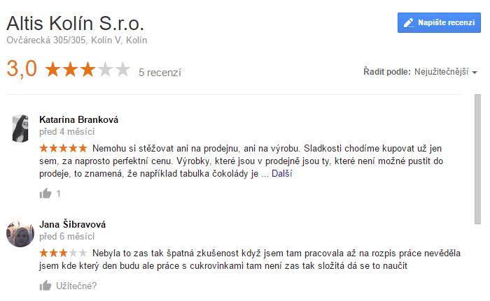 Google Moje Firma Altis Kolín
