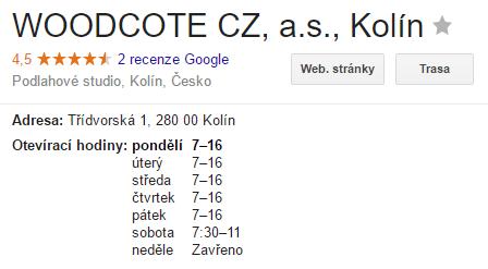 Otevírací doba Woodcote na Google Moje Firma