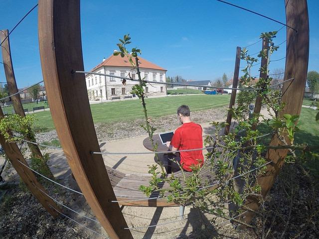 Práce v zahradách Jezuitské koleje